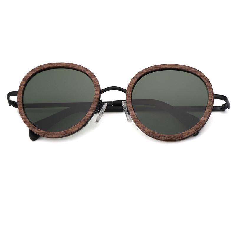 Holz Uv400 Design Green Objektiv 2018 Polarisierte Frauen dark Ultraleicht Mode Glas Marke Sonnenbrille Sonne Runde Männer brown Green HOOfwpq
