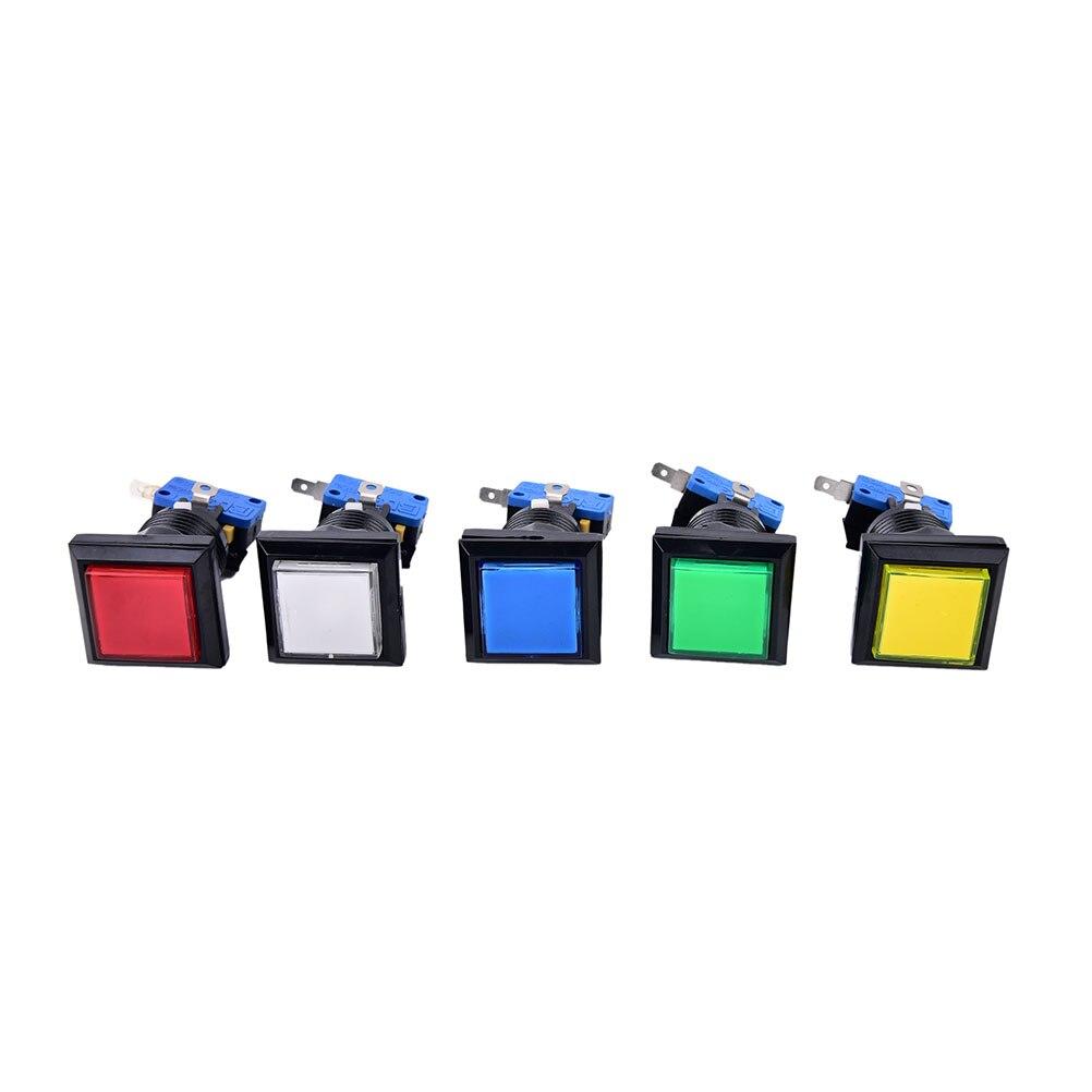 1PCS Arcade LED Momentary Illuminated Push Button Square Game Machine Push Button 5 Colors