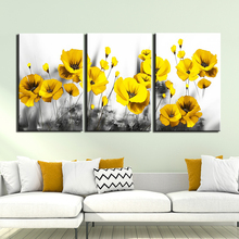 3 Panels Black and white background yellow flower picture canvas Painting Posters Print Wall Art Picture For Living Room decor