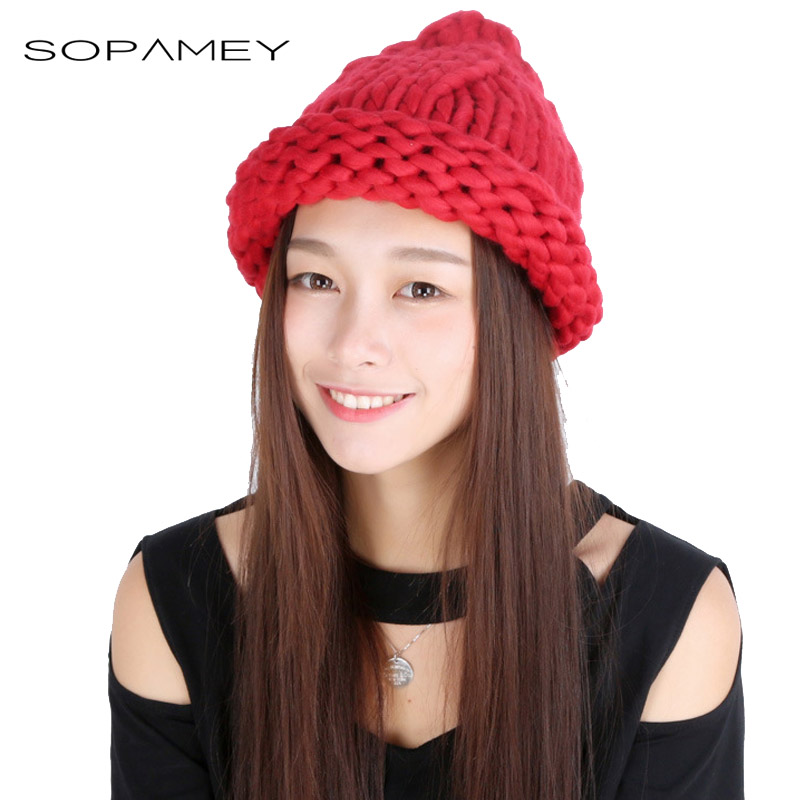 Winter Hat Adult Casual Female Beanie Winter Hats Hand Coarse Knitted Multicolors Hat for Women Girl Candy color Beanies Bones bingyuanhaoxuan2017 warm patchwork hats casual female autumn winter hats handmade coarse knitted hat for women beanies candy cap