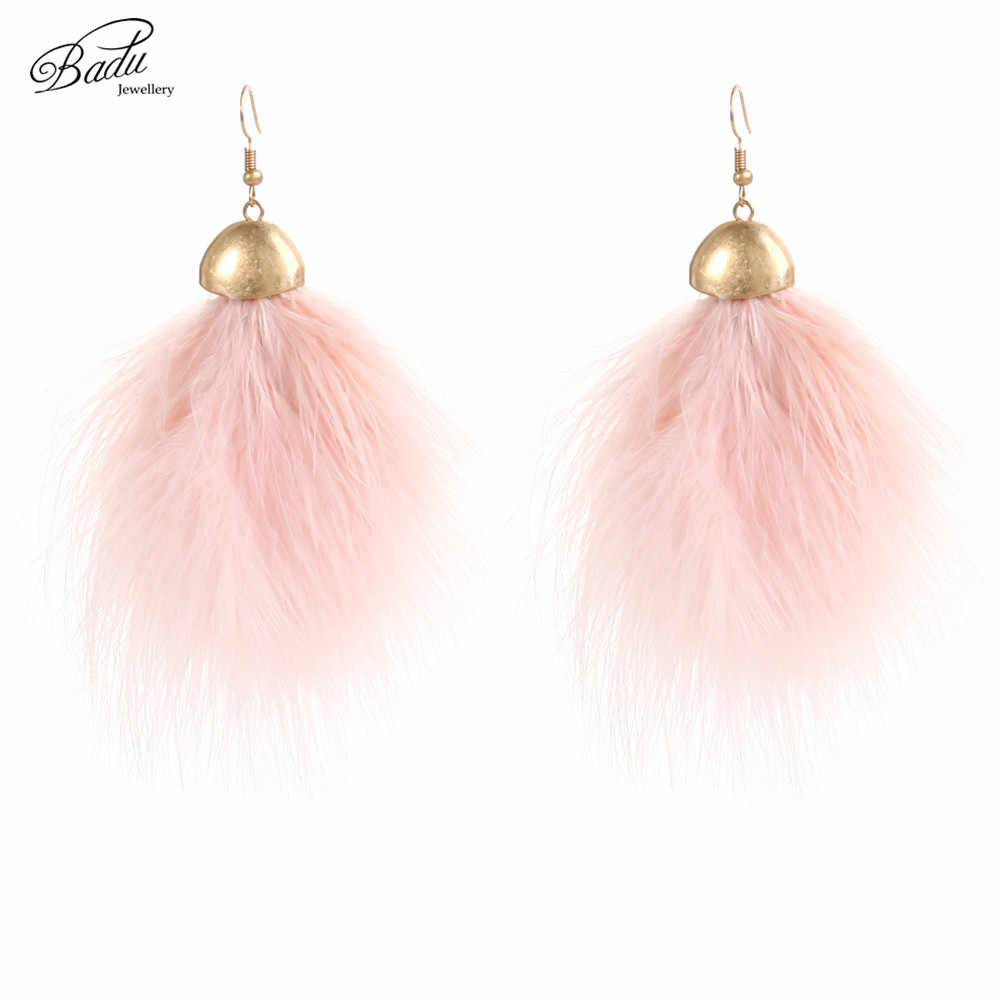 Badu Romantic Pink Ostrich Feather Earring Lovely Dangle Girls Fashion Jewelry Light Weight Feather Earrings Gift Girlfriend