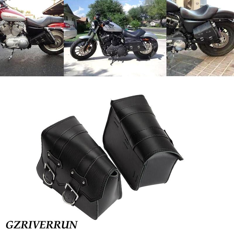 GZRIVERRUN Motorrad Tasche Satteltasche Für Harley Davidson Sportster PU Leder Schwarz 2 stücke Gepäck Werkzeug Seite Moto Hinten Tasche