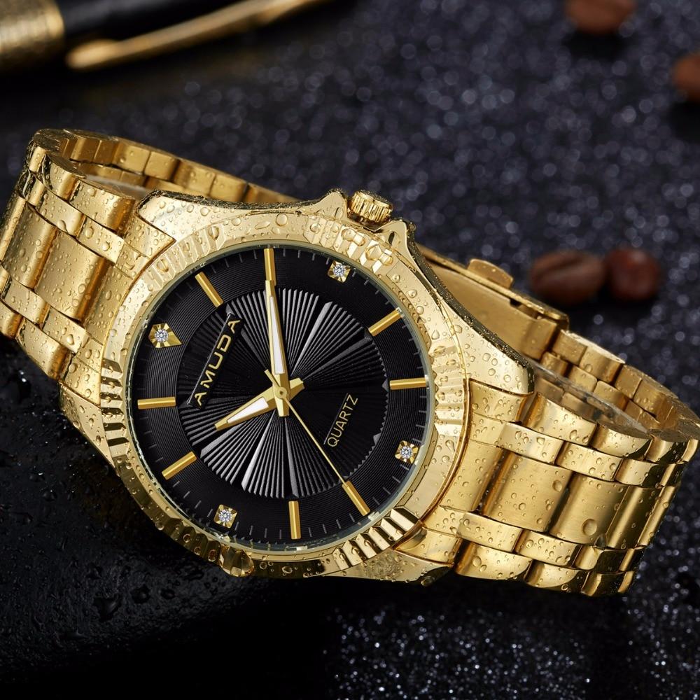 2017 AMUDA Men Gold Quartz Watch Men Clock Top Brand ...