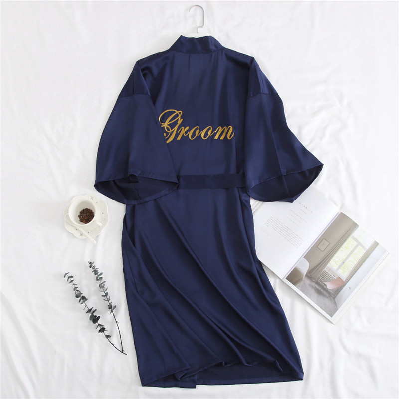 Navy Blue Men Sleepwear Satin Kimono Bathrobe Embroidery Wedding Party Groom&ampGroomsman Robes Casual Nightwear Home Clothes