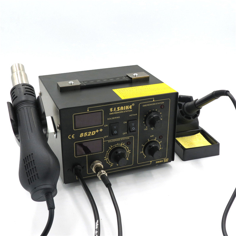 SAIKE 852D + + железо припой фена 2 в 1 паяльная станция 220 В обновлен железа SAIKE 852D +