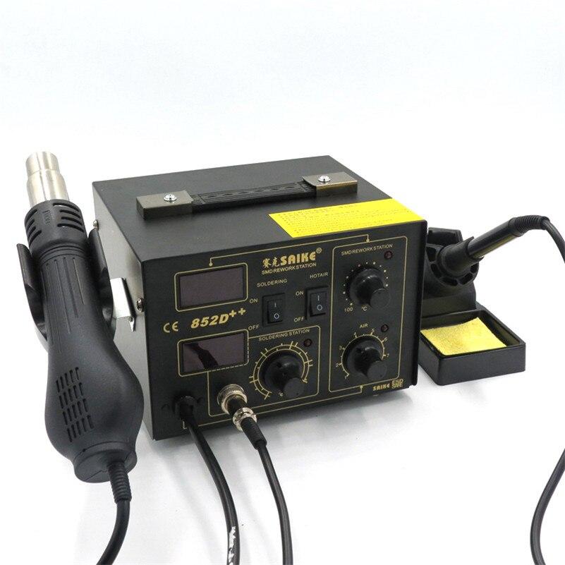 SAIKE 852D + + паять Железо паяльник горячего воздуха пистолет 2 в 1 паяльная станция 220 В Модернизированный Железный SAIKE 852D +