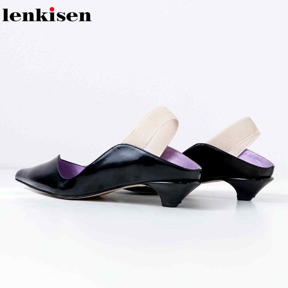Lenkisen fashion pointed toe slingback genuine leather summer brand shoes stiletto low heels elastic band runway women pumps L18 women office shoes solid color fashion pointed toe stiletto high heels elastic band ankle strap slingback sandals pumps leather