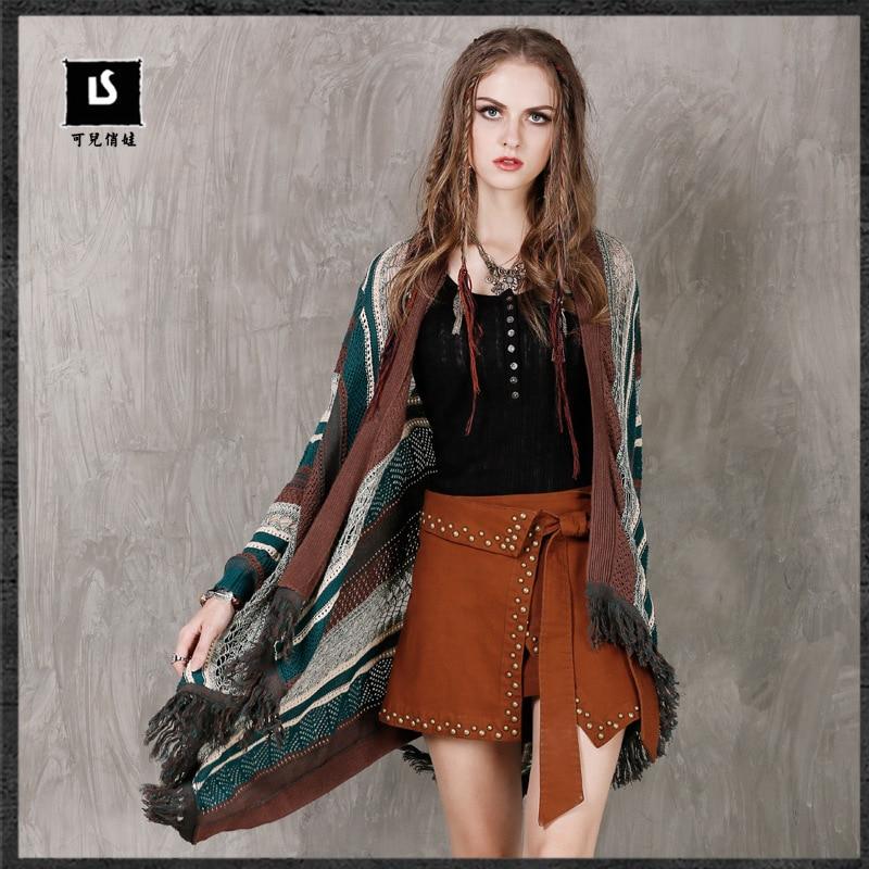 2016 Autumn women Open Stitch Sweater Coat Stripes Thread Irregular Knitted Long Cardigans