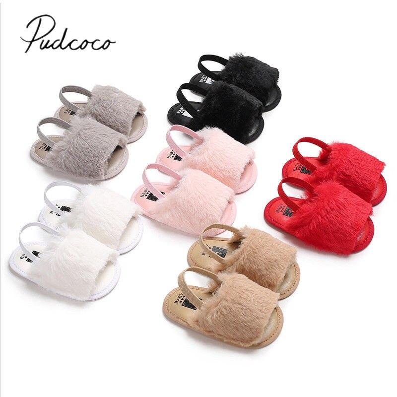 2018 новые брендовые летние сандалии для новорожденных девочек, 6 стилей, меховая однотонная обувь на плоской подошве с каблуком для детей 0-18 месяцев