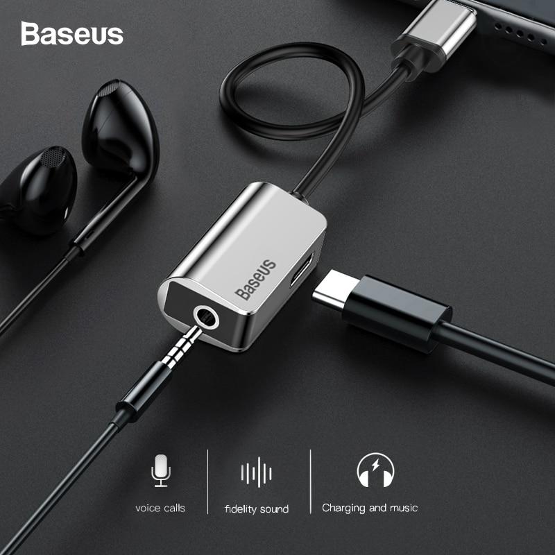 Baseus USB C Adapter Typ C zu 3,5mm Jack Kopfhörer Kabel Für Xiao mi mi 6 Huawei Mate 10 pro Typ-C Schnelle Ladung OTG Erweiterung