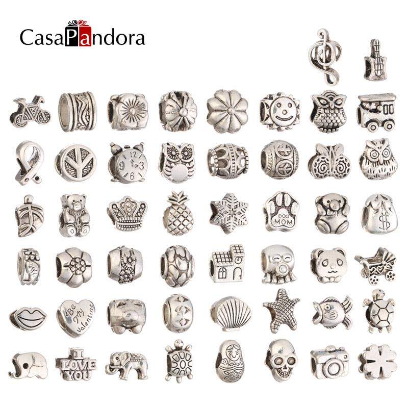 50 Pieces Silver Plated Alloy Metal Charms Fit Pandora Bracelet Snake Chain Bangle Pulseira Jewelry Making Pingente Berloque