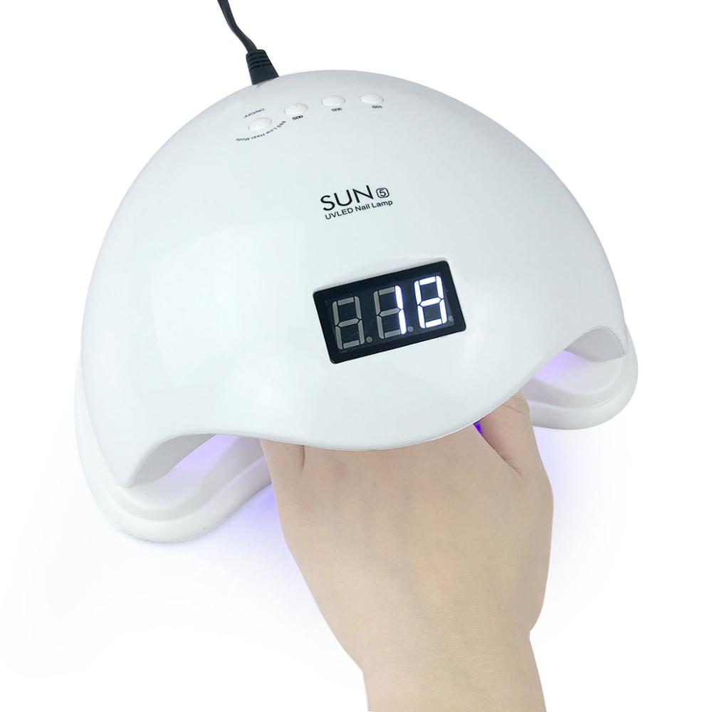 SUN 5 48W Nail Dryer for <font><b>UV</b></font> <font><b>LED</b></font> Nail Lamp Fast Curing Gel Polish Varnish Ice Lamp for Manicure Machine with LCD Display image