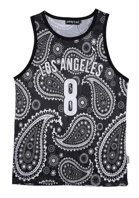 Homens Tanque Verão Top Los Angeles 8 3d flores de Caju camisa Bandana camisa undershirt Vest hip hop Streetwear
