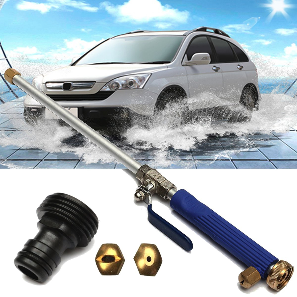 "18"" Aluminium High Pressure Power Car Washer Spray Nozzle Water Gun Hose Wand Attachment w/Tips(China)"