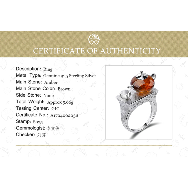 925 Sterling Silver Natural Amber Teapot Ring 5