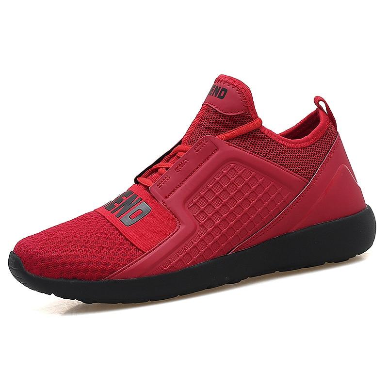 Topkwaliteit merken heren sneakers schoenen 2017 nieuwkomers stevige ademende mesh buitensporten loopschoenen voor mannen rood wit