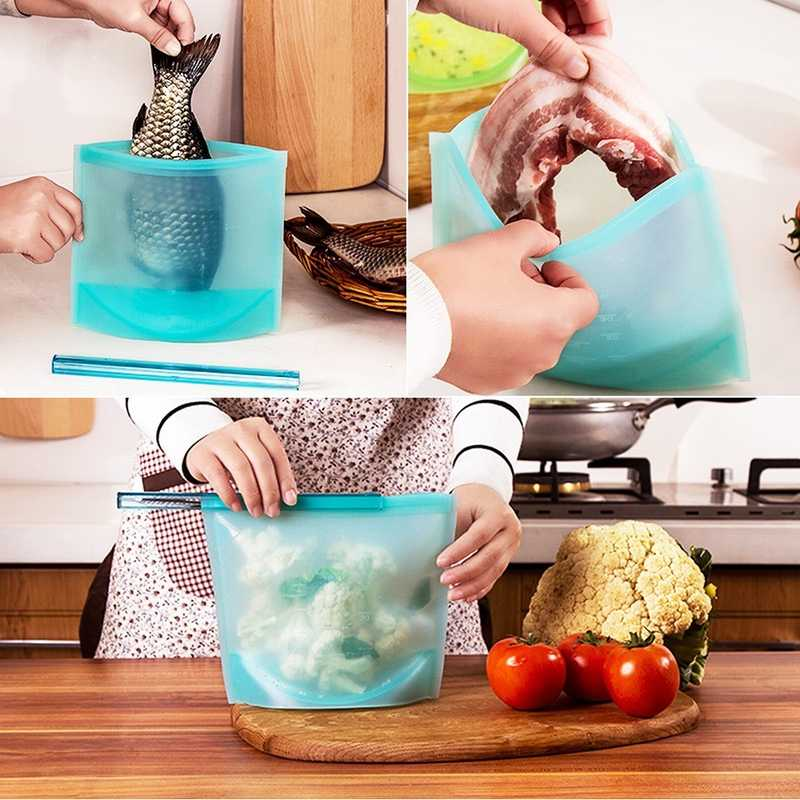 Urijk Reusable Silicone Vacuum Seal Food Fresh Bag Fruit Meat Milk Storage Containers Refrigerator Bag Ziplock Kitchen Organizer
