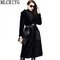 MLCRIYG стрижки овец пальто Для женщин Элитная норки пальто куртка 2018 зимняя Толстовка с длинным пальто casaco feminino LX331
