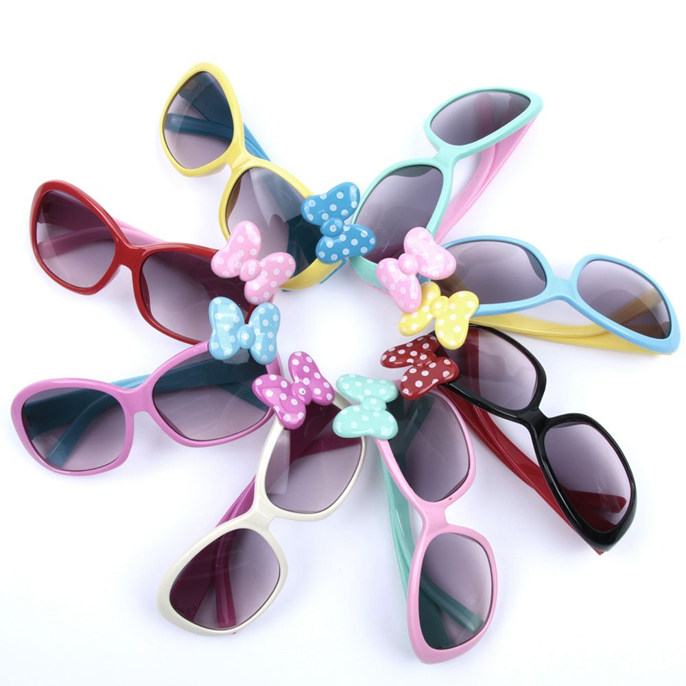 KLASSNUM Anti-UV Sunglasses Kids Boys Baby Girls Cartoon 8 Color Goggle Glasses Bow