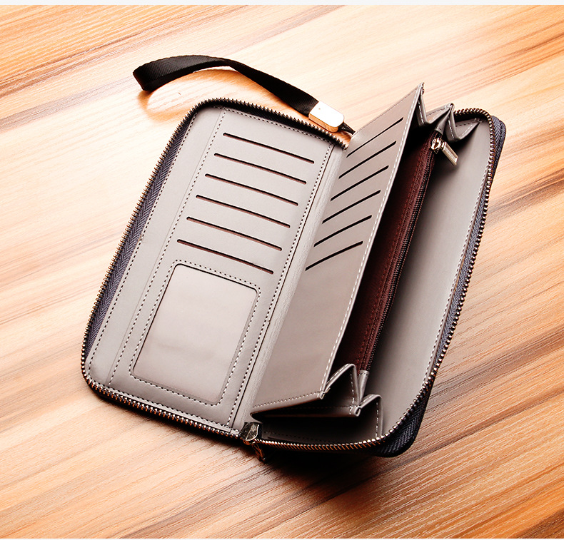 Newest style mens long high quality Canvas zipper Retro vintage wallets purse clutch for man with Wrist strap S1522