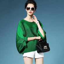 LANMREM 2019 High Quality New Fashion Loose Pleated T-shirt Round Collar Batwing Half Sleeve Womens Big Size Tops YE112