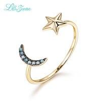 I & Zuan Diament Biżuteria 14 K Yellow Gold Natural Ruby Ring For Woman Star & Moon Niebieski Trendy Proste Party Pierścionki Fine Jewelry 0017-1