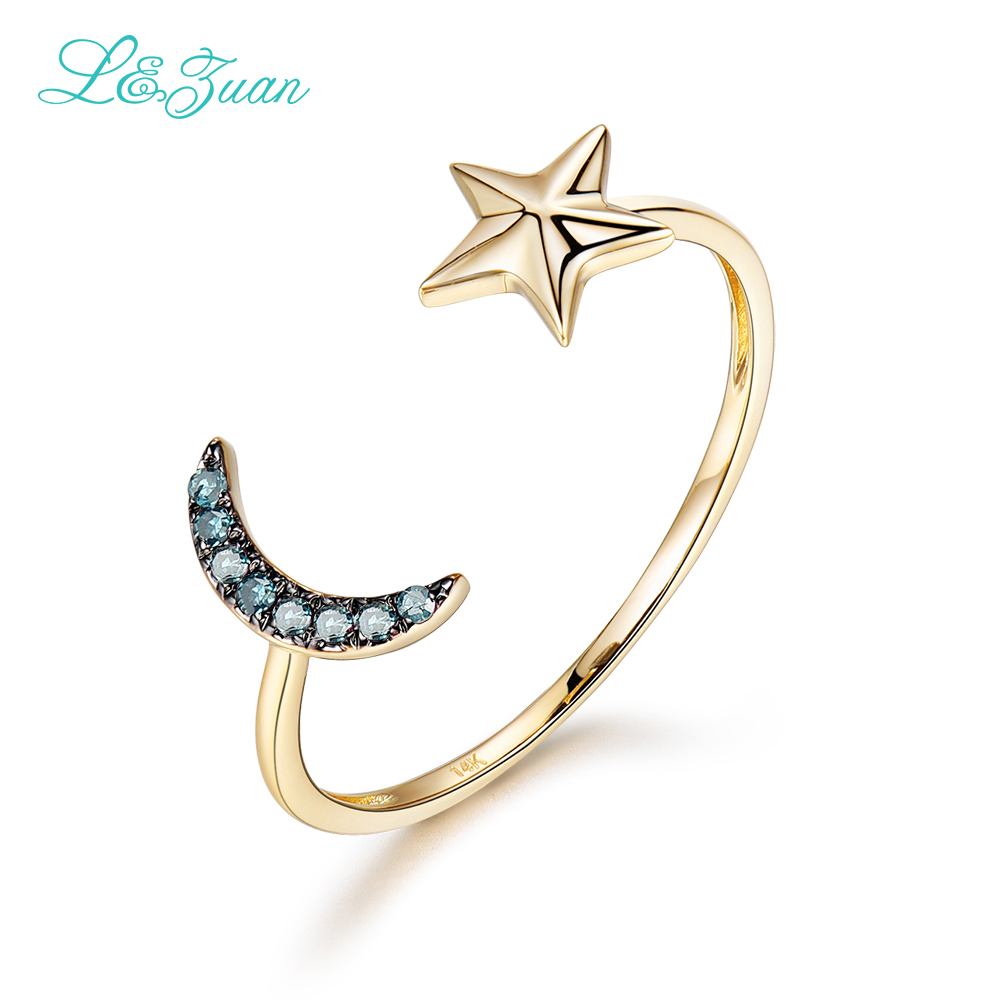 I&Zuan Diamond Jewelry 14K Yellow Gold Natural Ruby Ring For Woman Star&Moon Blue Trendy Simple Party Rings Fine Jewelry 0017-1 metal moon and star shap cuff ring