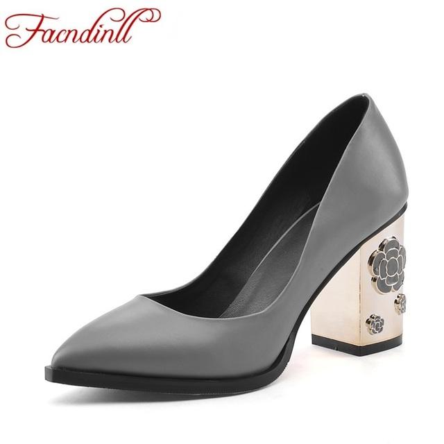 2016 nueva moda genuien zapatos de cuero bombas de las mujeres del otoño del resorte sexy zapatos de tacón grueso punta estrecha partido bombean los zapatos de vestido 34-39