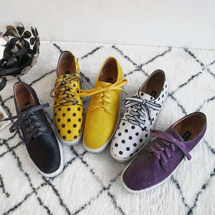 MLJUESE 2018 women flats horsehair lace up Polka dot yellow color autumn spring platform loafers casual shoes creeper shoes цена 2017