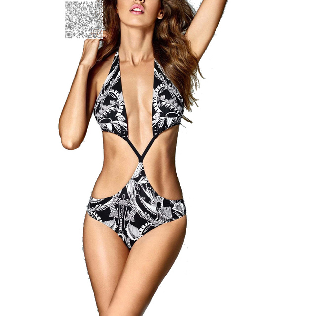 c74751b935 Imprimé floral Noir Trikini Maillots De Bain Femmes Monokini Push Up Bikini  2017 Bandage Sexy D