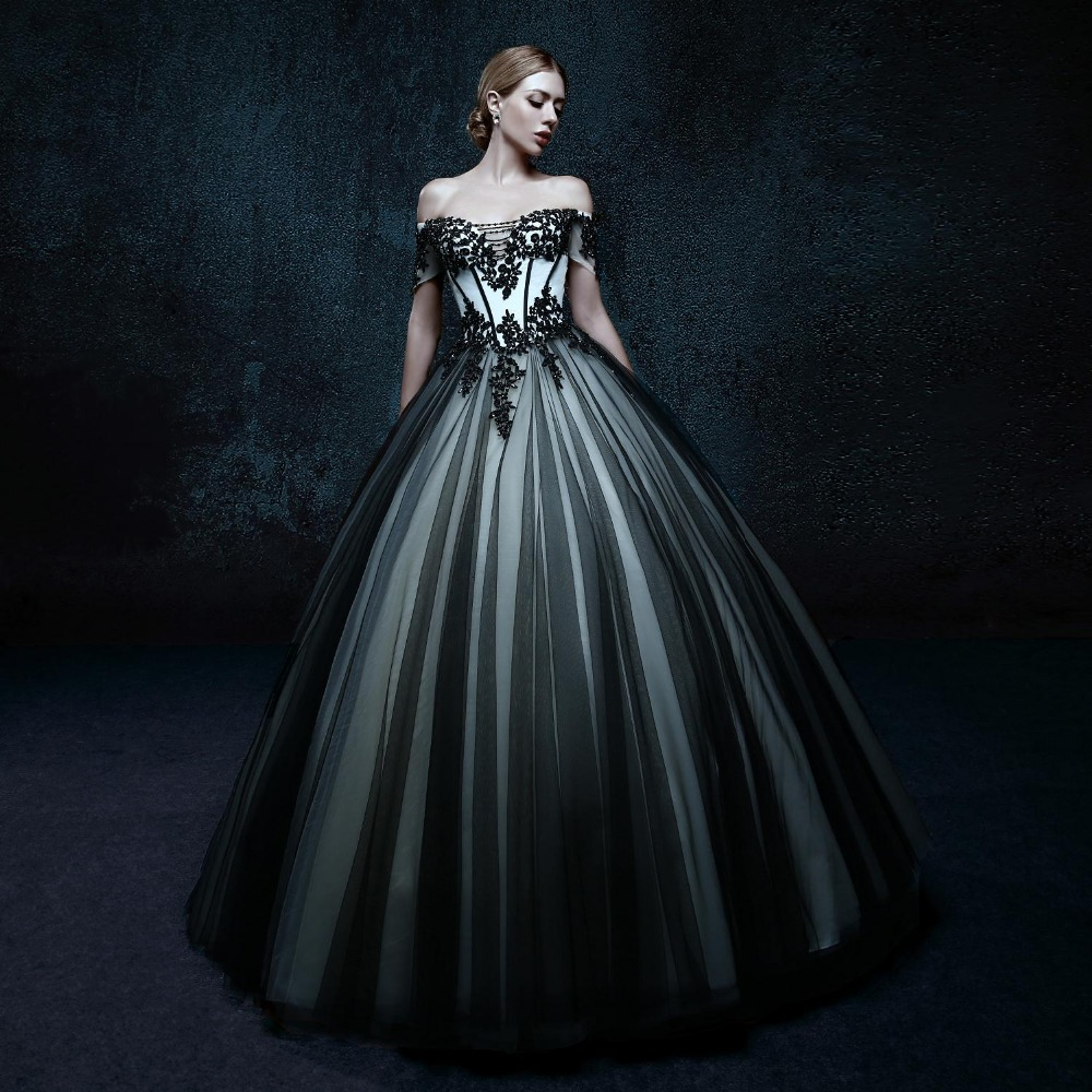 2016 women black gothic wedding dresses bride floor length lace ball gowns off the shoulder appliques
