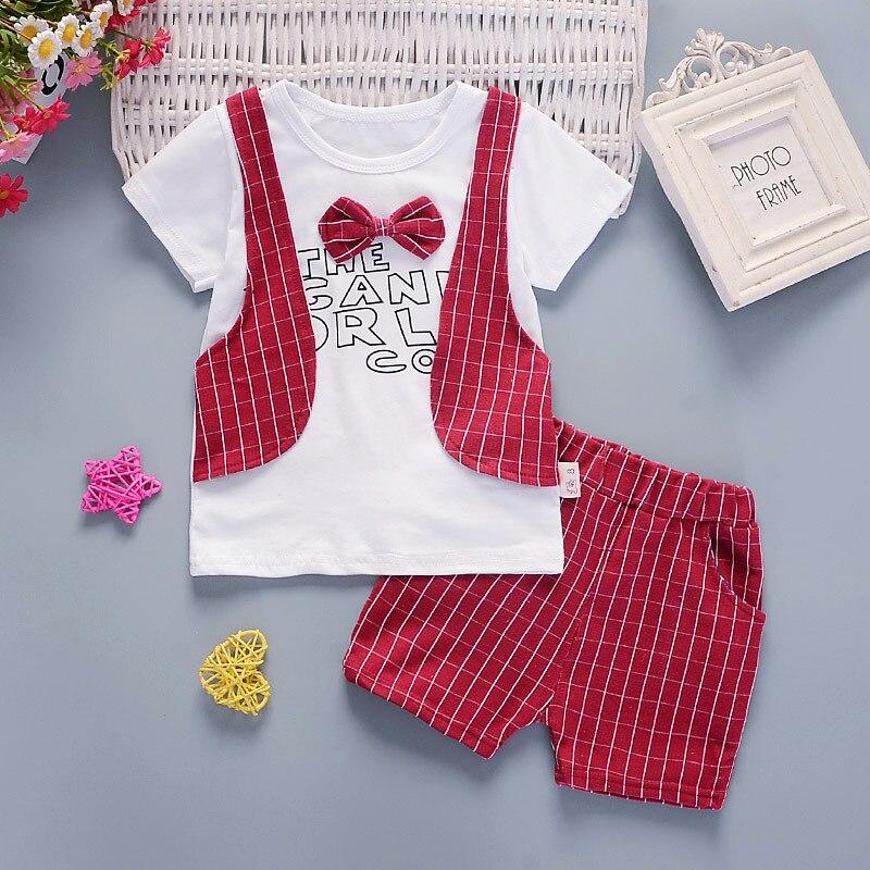 Детская одежда спортивный костюм Для мальчиков ясельного возраста одежда короткий рукав Брюки для девочек Джентльмен жилет короткий рукав...