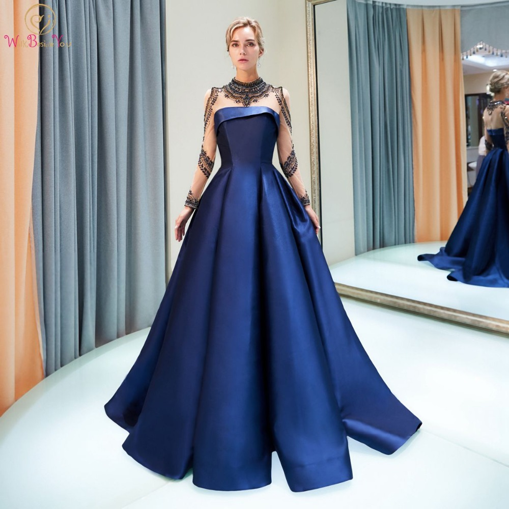 Walk Beside You Navy Blue Evening Dresses vestido longo festa Long Sleeves  High Neck Crystal Illusion Neck Satin Prom Gown 2019-in Evening Dresses  from ... 226a94f3821a