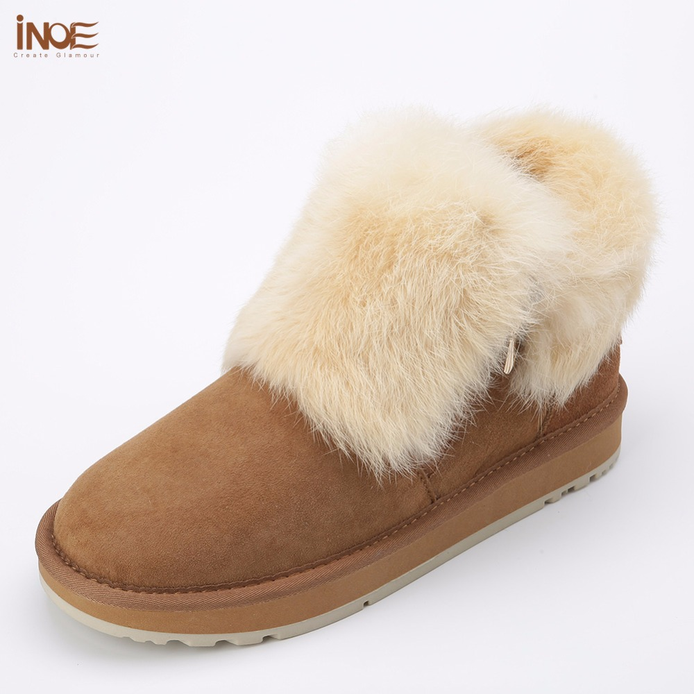 INOE fashion real sheepskin leather suede fur lined women rabbit fur winter short ankle snow boots for girls zipper winter shoes inoe 2018 new genuine sheepskin leather sheep fur lined short ankle suede women winter snow boots for woman lace up winter shoes