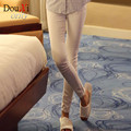 2017 Autumn spring Middle Waist Women Thick Jeans Stretch Skinny Pencil Pants Black White Color Casual Denim Plus size pant