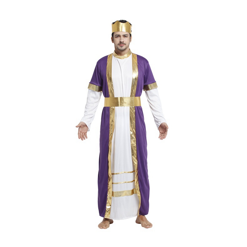 Umorden Carnival Halloween Costume for Men King Arab Arabian Sheik Costumes Cosplay Clothing Dress Set