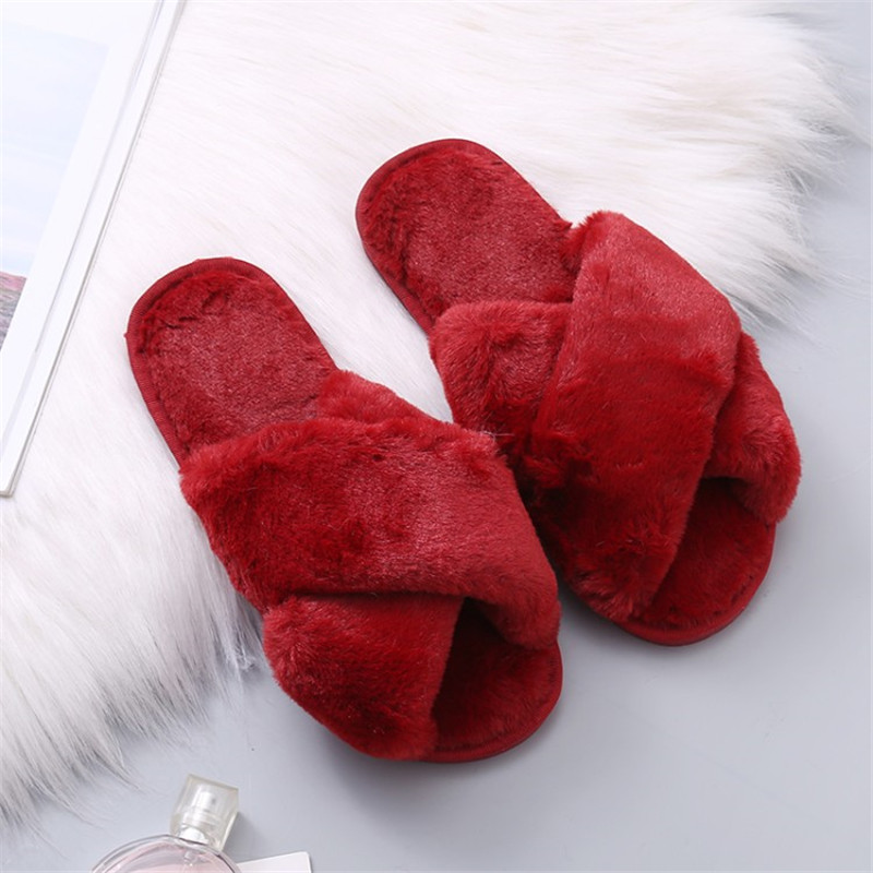 COOTELILI Women Home Slippers Winter Warm Shoes Woman Slip on Flats Slides Female Faux Fur Slippers 36-41 wholesale faux fur padded pinstripe warm slippers