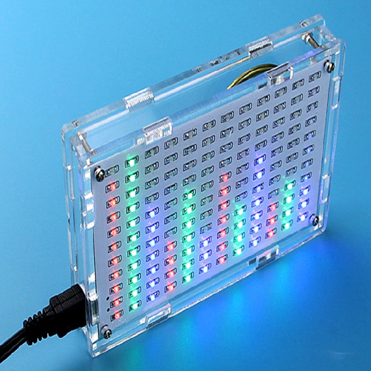 DIY LED music spectrum display production suite DIY production practice of electronic electronic parts 12*11FFT the development of 51 single chip learning board 4 4 4 color led lightdiy electronic parts cotted production suite