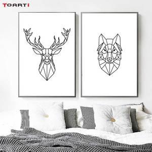 Image 4 - מינימליסטי בעלי חיים הדפסי כרזות נורדי צבי פרפר בד ציור על קיר לסלון חדר שינה בית תפאורה יצירות אמנות