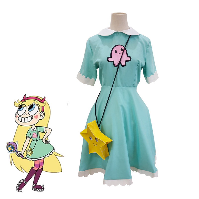 Anime Star vs the Forces of Evil Magic Princess Star Butterfly Light Blue Long Dress Halloween Carnival Party Cosplay Costume