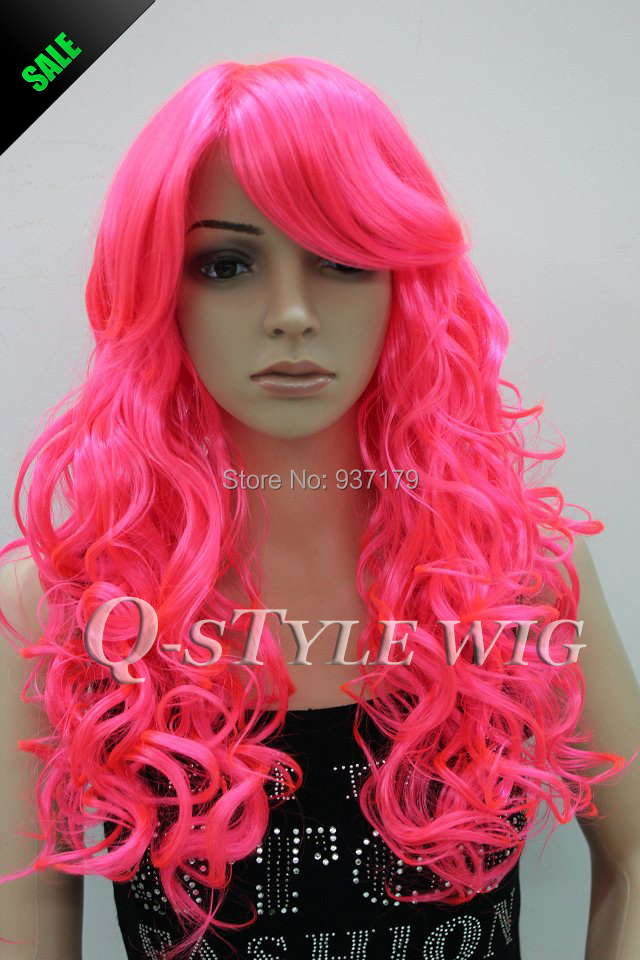 Jessica Rabbit Hairstyle Inspired Synthetic Long Big Wavy Pink Red