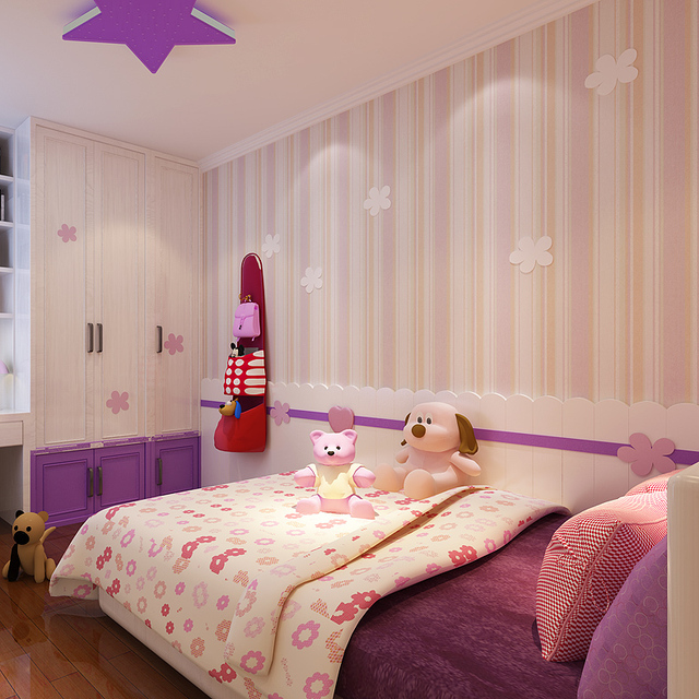 Vertical Stripes Flocking Non Woven Wallpapers Child Wallpaper Children S Bedroom Pink Room For And