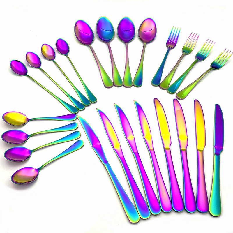 24pcs set Stainless Steel Flatware Soup Scoop Mixing Scoop Dinner Knife Steak Knife Dinner Fork Full