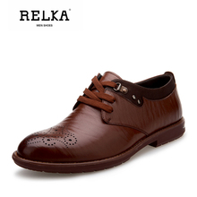 Купить с кэшбэком RELKA Vintage Men Shoes Good-quality Genuine Leather Round Toe Comfortable Heel Shoes Solid Lace-up Casual Luxury Men Shoes N13