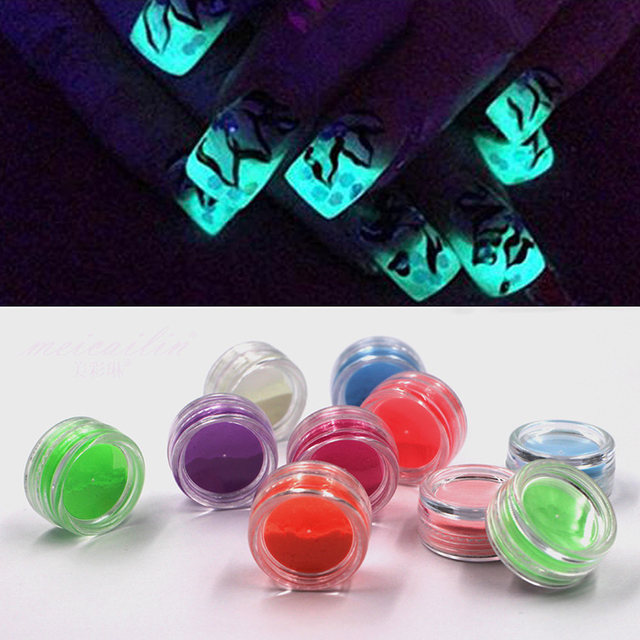 10 Neon Colors Bright Nail Polish Powder Glow In The Dark Dust Luminous Pigment Noctilucent Fluorescent Art Glitter