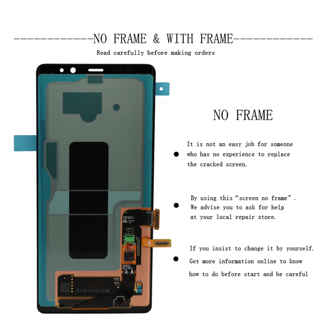 ORIGINAL 6.3'' Display with Burn-Shadow LCD for SAMSUNG Galaxy Note8 N9500 N950F N900D N900DS Touch Screen Digitizer with Frame