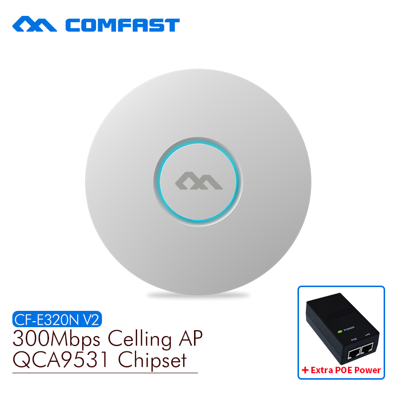 comfast cf e320n 300mbps ceiling ap 802 11b g n wireless ap wifi coverage router 16 flash wifi access point add 48v poe power COMFAST wireless Ap CF-E320N-V2 300Mbps Ceiling AP 802.11b/g/n wifi router Indoor AP for big area wifi coverage Access Point AP