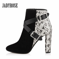 Jady Rose Snakeskin Women Ankle Boots Belt Buckle Rubber Boot Chunky High Heel Shoes Woman Autumn Winter Botas Mujer