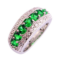 lingmei Generous Fashion Lady Emerald Quartz  Silver Ring Jewelry For Women Size 6 7 8 9 10 11 12 Free Shipping Wholesale