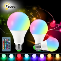 TSLEEN Cheap RGB LED Lamp E27 3W 5W 10W Colorful LED Bulb Dimmable AC85 265V 16Color